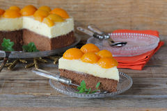 Sponge cake with peach mousse Royalty Free Stock Images
