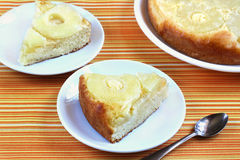 Sponge cake with pineapple Stock Photos