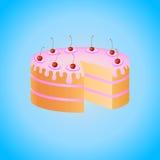 Sponge cake. With pink glaze and cherries stock illustration