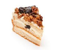 Sponge cake with prunes and walnuts Stock Images