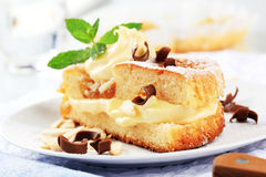 Sponge cake with pudding cream Stock Photography