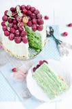 Sponge cake with raspberry Stock Photos