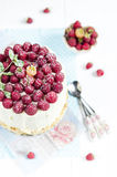 Sponge cake with raspberry Royalty Free Stock Image