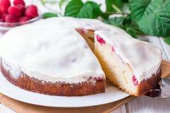 Sponge cake with raspberry Stock Images