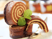 Sponge cake roll Royalty Free Stock Images