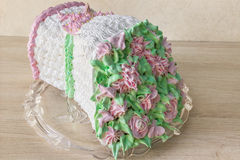 Sponge cake in the shape of a bouquet of flowers Royalty Free Stock Photo