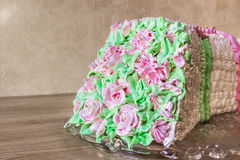 Sponge cake in the shape of a bouquet of flowers Stock Photo