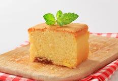 Sponge cake. Slice of homemade sponge cake on wooden cutting board Royalty Free Stock Photos