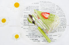 Sponge cake with strawberries and tea Match Royalty Free Stock Photography
