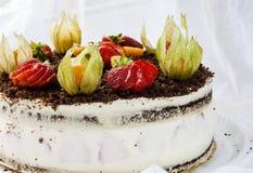 Sponge cake with strawberries Royalty Free Stock Image