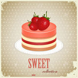 Sponge Cake with Strawberry. Vintage postcard - Sponge Cake with Strawberry - illustration royalty free illustration