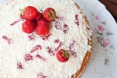 Sponge cake with strawberry cream. Stock Photography