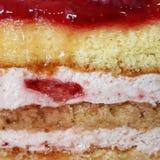 Sponge Cake Strawberry Cream Layers Slice. Layers of sponge cake, and strawberry cream. Side view of a slice. Gourmet food stock photography