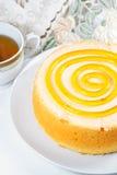 Sponge cake with tea Stock Photography