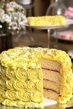 Sponge cake at wedding party. Bridal cake- stylish-wedding-cake-decorated royalty free stock photography