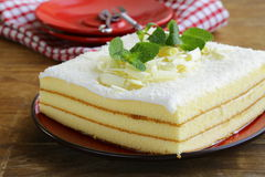 Sponge cake with white chocolate Stock Images