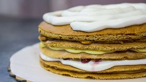 Sponge cake with white cream, the process of making the cake, side view royalty free stock images