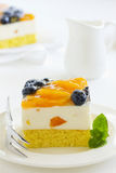 Sponge cake with yogurt mousse Royalty Free Stock Photo