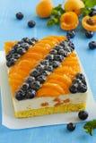 Sponge cake with yogurt mousse, apricots Stock Photo