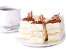 Sponge cakes with cup of coffee Stock Image