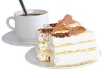 Sponge cakes with cup of coffee  . Isolated Stock Image