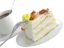 Sponge cakes with cup of coffee  . Isolated Royalty Free Stock Photos
