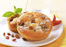 Sponge cakes with raisins Stock Images