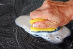 Sponge cleaning Stock Photo