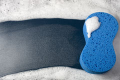 Sponge for Cleaning. Blue Sponge for Cleaning with Copy Space Stock Photography