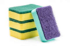 Sponge for cleaning and dishwashing. Colorful nylon fiber sponges for cleaning and dishwashing on the white background Stock Photo