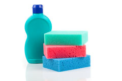 Sponge and cleaning items Royalty Free Stock Images