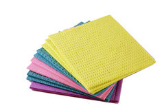 Sponge Cloths. Cleaning rags or cloths isolated on white background Stock Photography