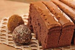 Sponge Co Co cake. Sponge cocoa cake w/ice cream stock photo