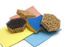 Sponge and color rag Royalty Free Stock Photos