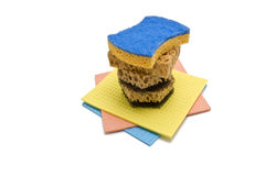 Sponge and color rag Stock Image