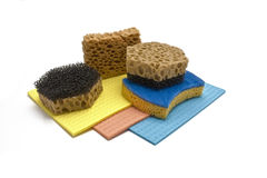 Sponge and color rag Royalty Free Stock Images