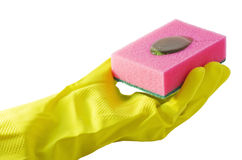 Sponge with detergent in hand Stock Images