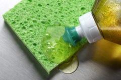 Sponge and dish soap stock photo