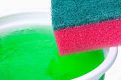 Sponge and dish soap Stock Images