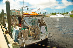 Sponge Diver Boat. With net of sponges on dock in Tarpon Springs, Florida Stock Images