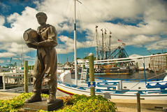 Sponge Diver Memorial Statue. In Tarpon Springs, Florida where divers from Greece were brought over to dive for sponges years ago, now the largest Greek Stock Photography