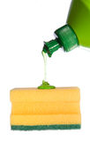 Sponge with flowing detergent Royalty Free Stock Images