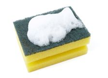 Sponge and foam 1. Close up of kitchen sponge with foam for do the dishes on white background with clipping path Royalty Free Stock Image