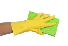 Sponge and glove Royalty Free Stock Photos