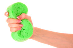 Sponge in a hand Royalty Free Stock Images