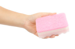 Sponge in hand Stock Photo