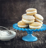 Sponge kisses with cream Royalty Free Stock Images
