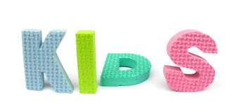 Sponge letters spelling 'kids' Royalty Free Stock Images