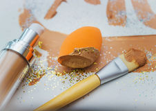 Sponge for make-up with foundation cream Royalty Free Stock Image