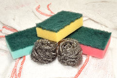 Sponge And Metal Cleaning Scourers Stock Photography